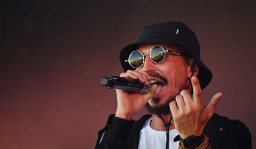 Vladimir Beglichev from Jungle Junkiez performing at the Rap Koktebel festival in Crimea